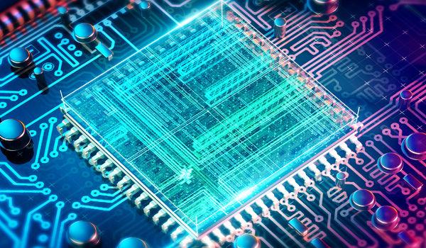 Concepção artística de um processador quântico.
