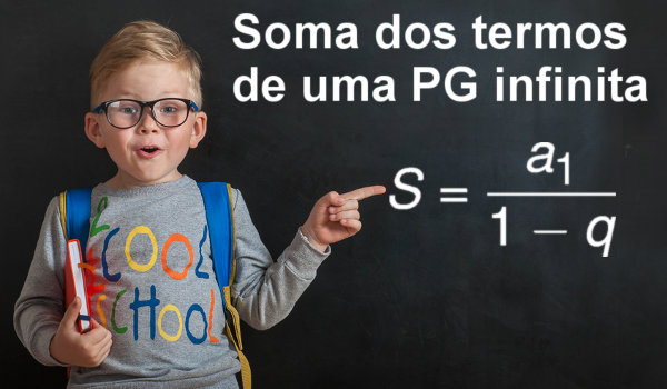 A soma dos termos de uma PG infinita é dada por meio da fórmula, na qual dividimos o primeiro termo por 1 – q.