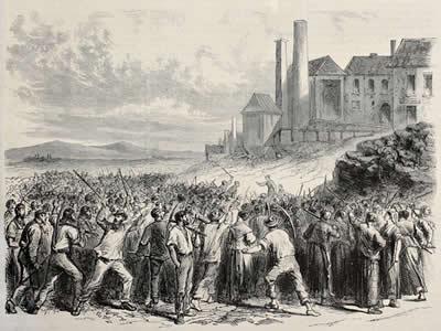 Operários belgas em greve, em mina de Haazard, em gravura do século XIX