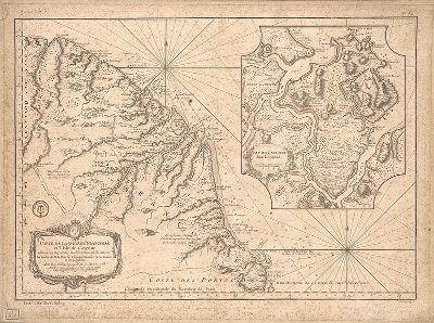 Mapa da ilha de Caiena, na Guiana Francesa