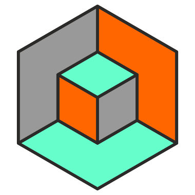 Planos paralelos e perpendiculares formando um cubo