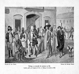 Valongo ou mercado de escravos no Rio, desenho de Auguste Earle (1793-1838)