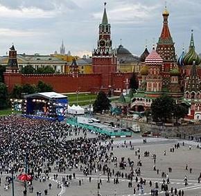Moscou, a cidade mais populosa da Europa, com cerca de 12 milhões de habitantes.