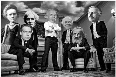 Cientistas famosos da esquerda para a direita: Marie Curie, Niels Böhr, Michael Faraday, Albert Einstein, Linus Pauling, Mendeleiev e Rutherford