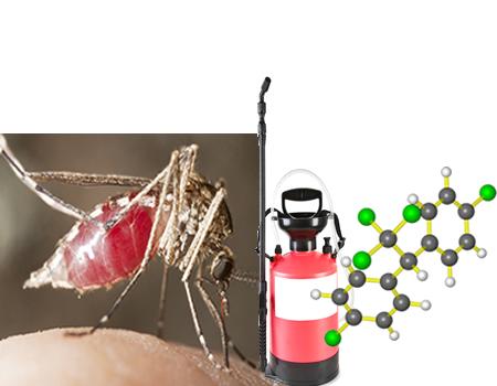 O clorobenzeno, obtido por meio de uma reação de halogenação, é usado na fabricação de pesticidas, como o DDT,  que combate a malária