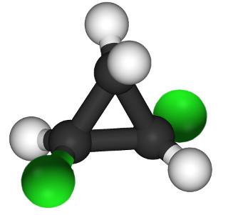 O 1,2-dicloropropano é um exemplo de composto cíclico que realiza isomeria geométrica cis-trans e isomeria óptica