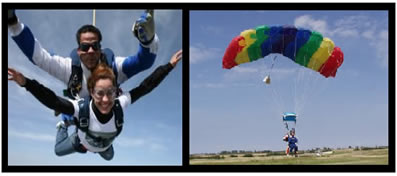 Momentos de queda livre e pouso de paraquedistas