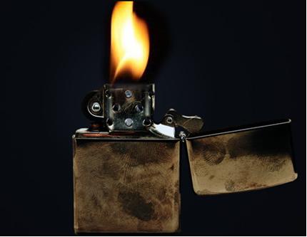 Combustão completa do gás metano em um isqueiro
