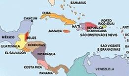 Mapa da América Central.