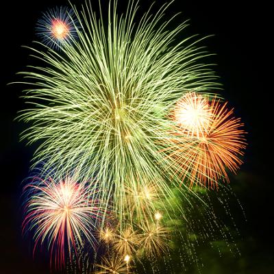 Boro: coloração verde dos fogos de artifício.