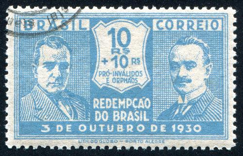 Selo brasileiro estampando os dois candidatos da Aliança Liberal nas eleições de 1930: Getúlio Vargas e João Pessoa*