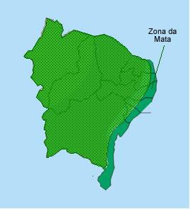 A Zona da Mata se estende por boa parte do litoral nordestino