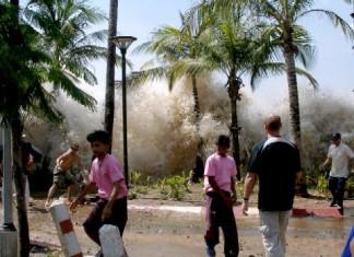 A invasão das águas em Tuvalu no Pacífico Sul.