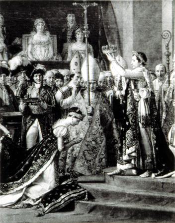 Contrariando a tradição absolutista, Napoleão não foi coroado pelo papa, mas se autocoroou