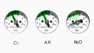 Pressões de diferentes gases medidas em barômetros