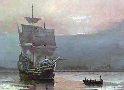 Tela representando o navio Mayflower no porto de Plymouth