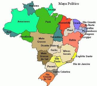 Divisão político-administrativa atual do Brasil.