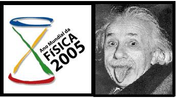 À esquerda – símbolo comemorativo do Ano Mundial da Física; à direita – a foto mais conhecida de Albert Einstein.