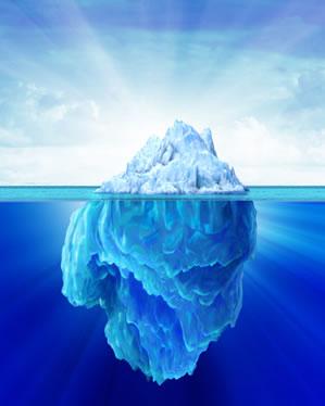 A maior parte do volume de um Iceberg permanece submersa