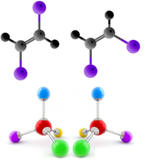Os dois compostos de cima são diastereoisômeros e os de baixo são enantiômeros