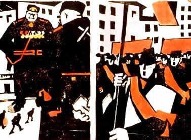 Cartaz no qual a diferença entre mencheviques e bolcheviques é colocada em questão.