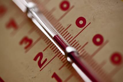 A graduação do termômetro é a escala termométrica (existem várias escalas em uso atualmente)