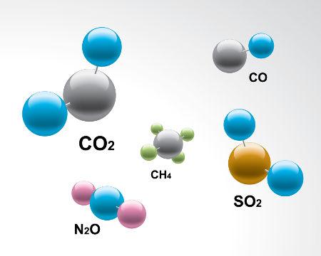 Moléculas de gases formando uma mistura gasosa