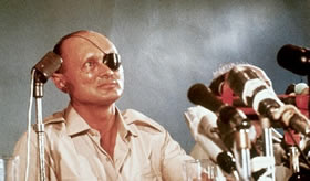 Moshe Dayan, líder das forças israelenses na Guerra dos Seis Dias