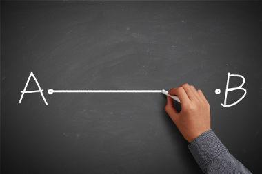 Segmento de reta que começa em A e vai até B