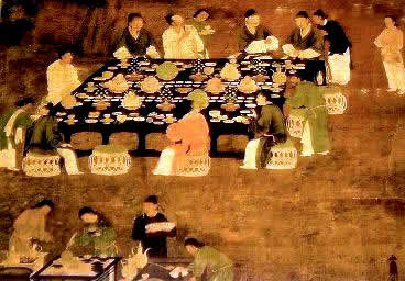 Gravura retratando um banquete servido durante a dinastia Song.
