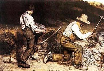 Britadores de pedra, de 1850, pintura realista de Gustave Coubert