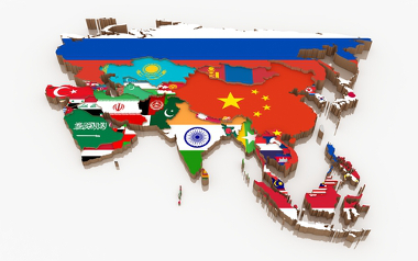 Mapa temático do continente asiático