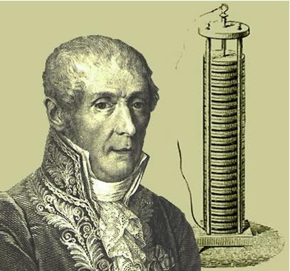Alessandro Volta e sua primeira pilha, denominada de pilha Voltaica