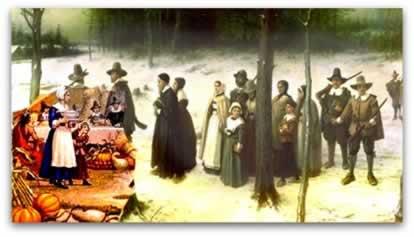 Família puritana indo para a igreja