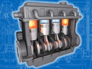 Ilustração de um motor de explosão interna com quatro pistões