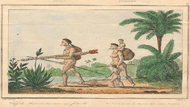 Família de Botocudos em viagem, de Maximilian, 1815-1817. Aquarela do livro Reise nach Brasilien in der Jahren