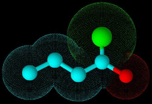 Estrutura em terceira dimensão do cloreto de butanoíla