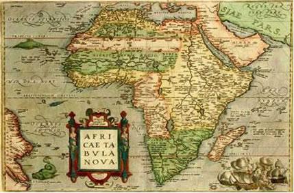 Mapa Antigo do Continente Africano antes da chegada dos europeus