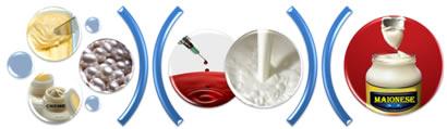 Alguns exemplos de emulsão: manteiga, margarina, cremes, pérola, sangue, leite e maionese