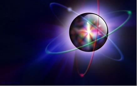 Ilustração de um átomo com ênfase em seu núcleo