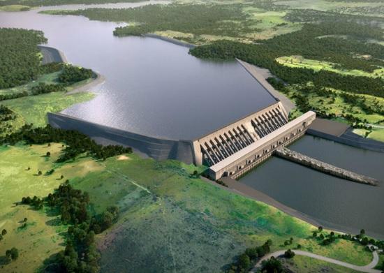 Projeção de como ficará a Usina de Belo Monte, quando concluída