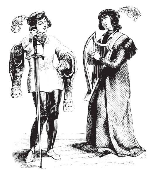 Os trovadores criavam cantigas, as quais marcaram a produção literária da época.