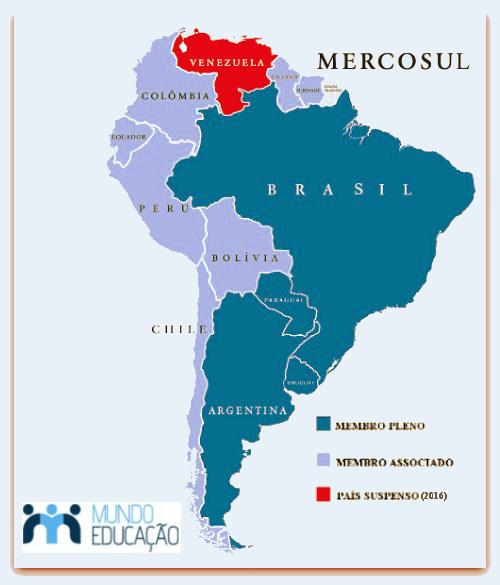 No Mercosul, os países: Argentina, Brasil, Paraguai e Uruguai são membros plenos do bloco econômico.