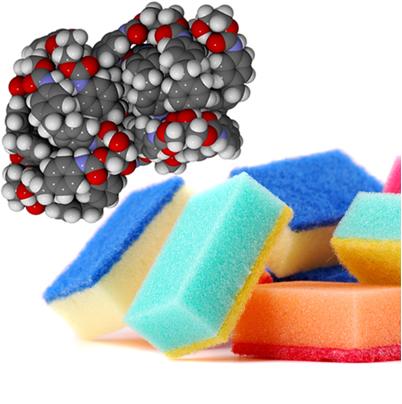 Modelo de estrutura do polímero poliuretano, que é a composição da espuma das esponjas usadas para lavar louças