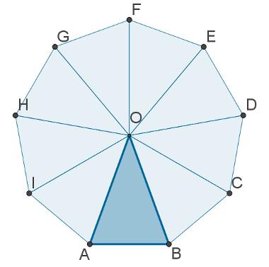 Exemplo de eneágono regular com destaque para um triângulo, que pode ser usado para calcular a área dessa figura