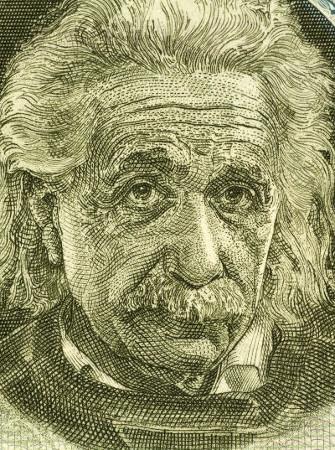 Retrato de Albert Einstein estampado em notas usadas em Israel, 1968 *