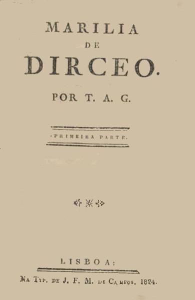 """Capa de """"Marília de Dirceu"""" (grafia atual) de Tomás Antônio Gonzaga, obra icônica do Arcadismo brasileiro."""