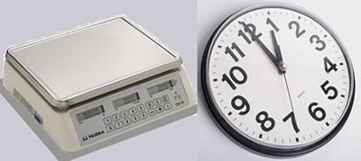 Instrumentos utilizados para medir massa (balança) e tempo (relógio).