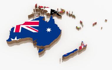 Mapa e bandeiras dos países da Oceania