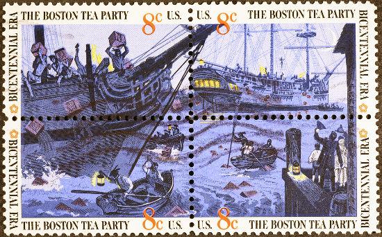 Selo retrata a Festa do Chá de Boston, episódio em que colonos destruíram caixas de chá no porto dessa cidade*